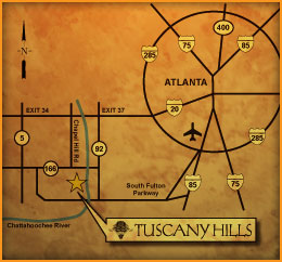 Map To Tuscany Hills